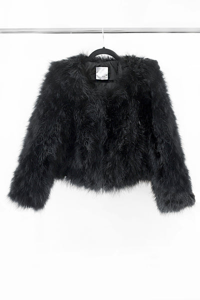 Feather Fur Bomber Jacket