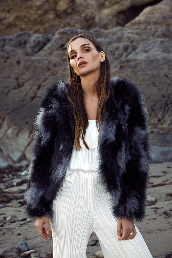 The Multi Feather Fur Bomber Jacket