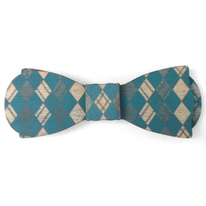 B.B. TealOllie Esq., Painted Argyle Wood Bow Tie