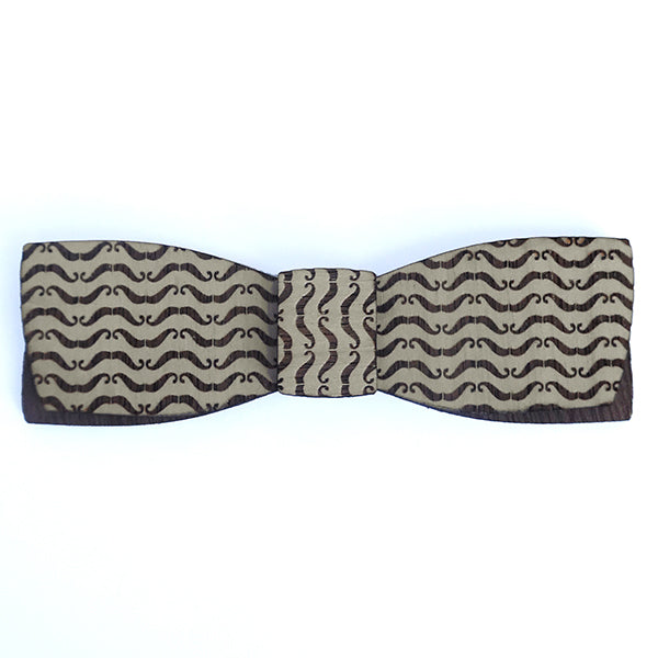 B.L. Frank Morgan M.Sc., Mustache Pattern Wood Bow Tie