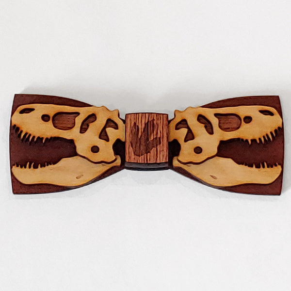 Kids T-Rex Wood Bow Tie