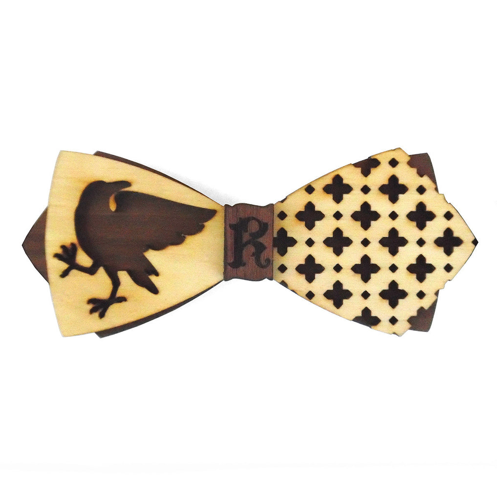 B.W. Raven Ph.D., House Heraldry Wooden Bow Tie