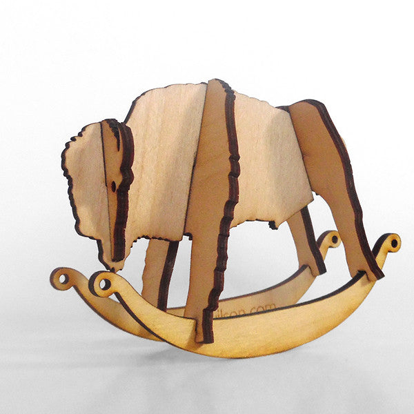 Bison Wooden Puzzle Toy Rocker