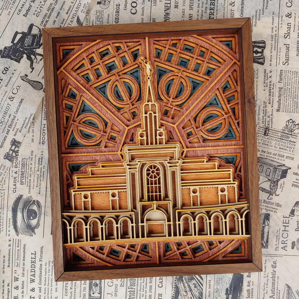 Bountiful Utah Temple Layered Wood Plaque