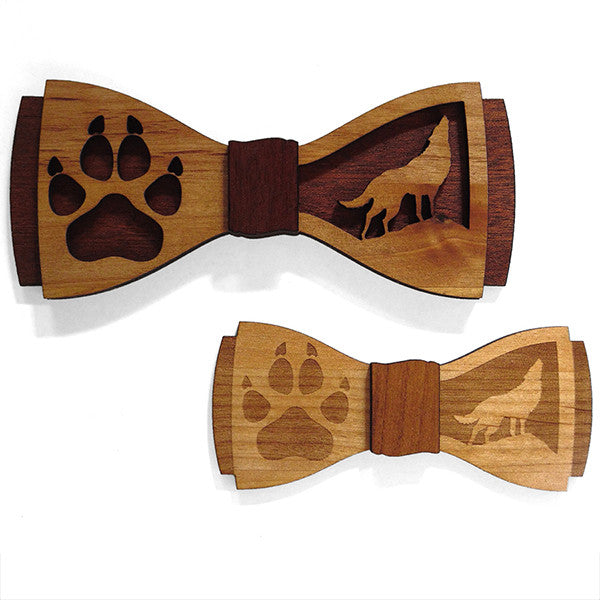 C.M. Wolfing D.Phil. Set, Wolf Design Wood Bow Tie Set