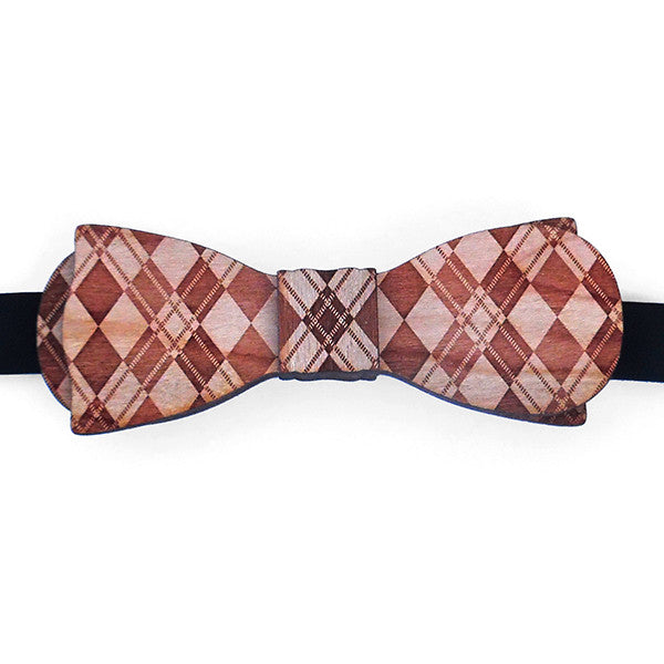 C.C. Ollie Esq. Argyle Design Wood Bow Tie