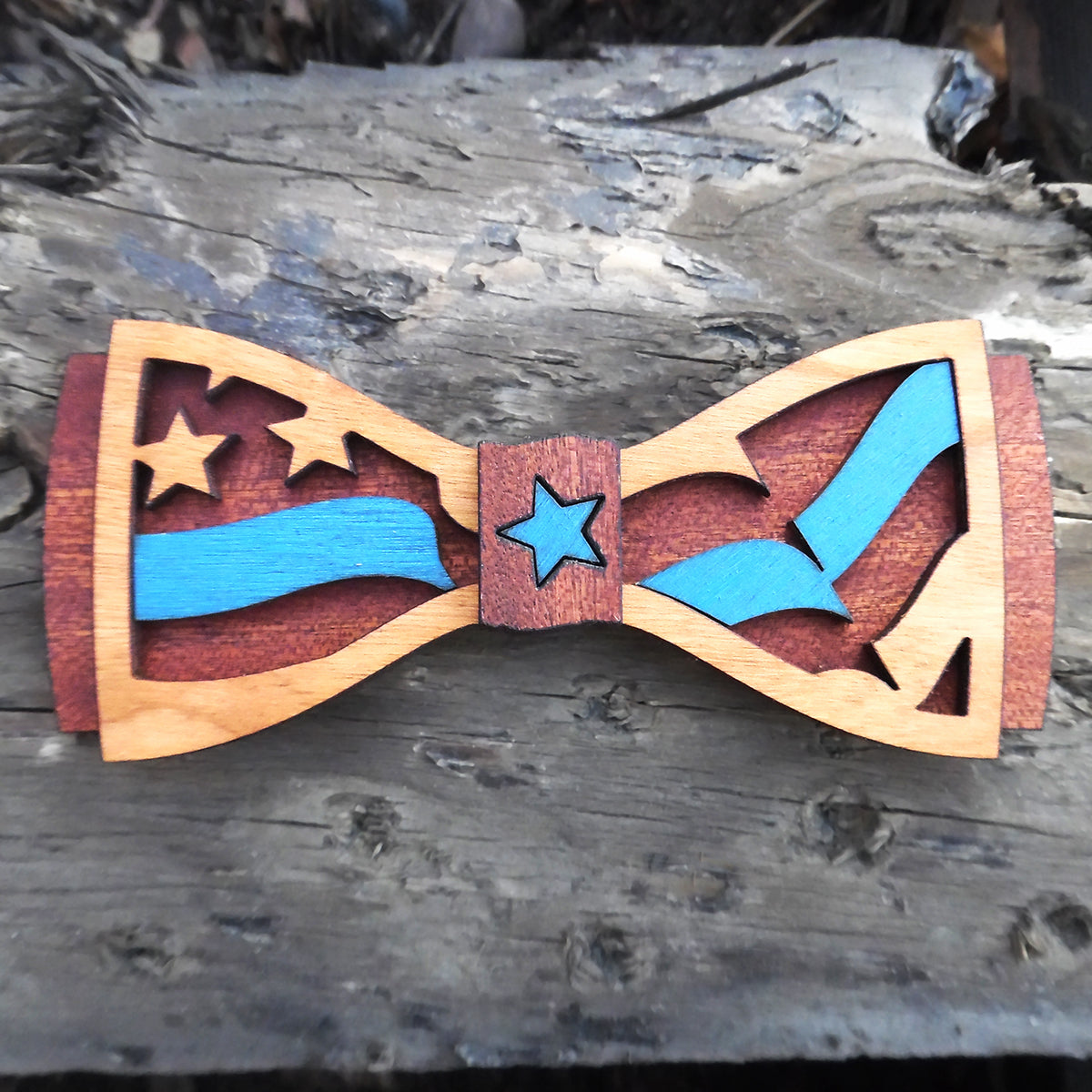 C.M. BlueLine D.Phil., Cherry and Walnut Wooden Bow Tie