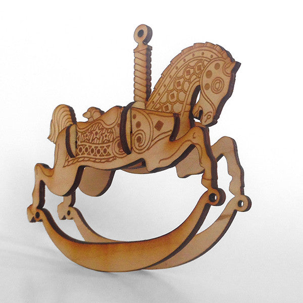 Carousel Horse1 Wood Puzzle Rocker