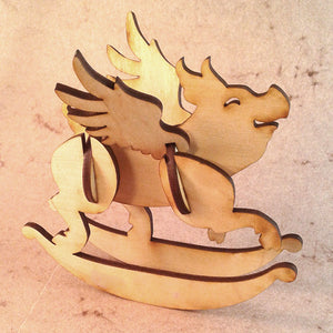 Flying Pig Wooden Puzzle Rocker
