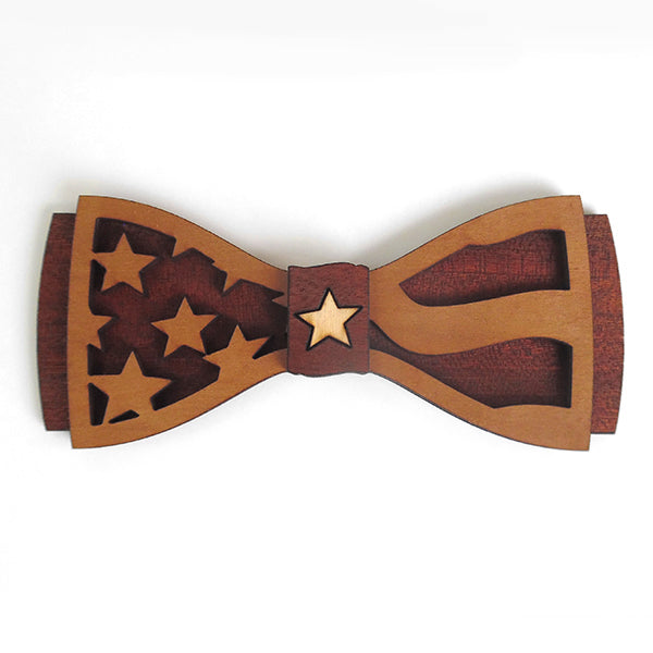 C.M. Ol'Glory D.Phil., Cherry and Walnut Flag Design Wood Bow Tie