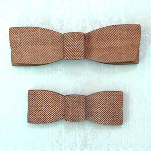 C.C. Herringbone M.Sc. Father & Son Wood Bow Tie Set