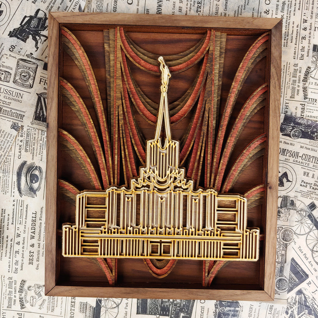 Jordan River Utah Temple Layered Wood Plaque