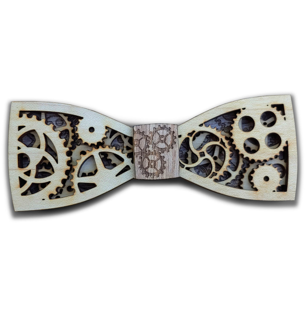 B.L. Jules Verne Jr. Steampunk Wood Bow Tie