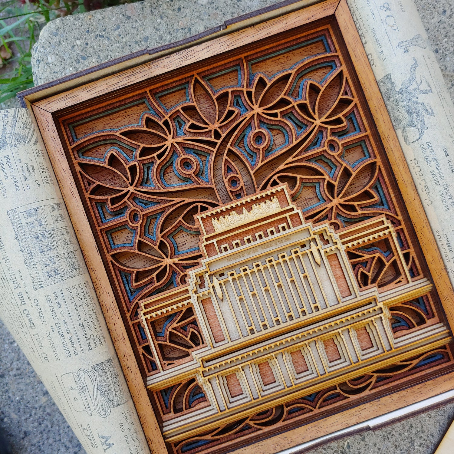 "6"" x 8""  Laie Hawaii Temple Layered Wood Plaque"