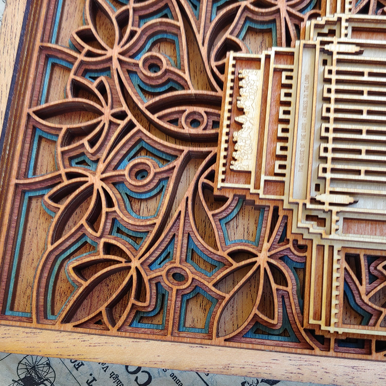 Laie Hawaii Temple Layered Wood Plaque