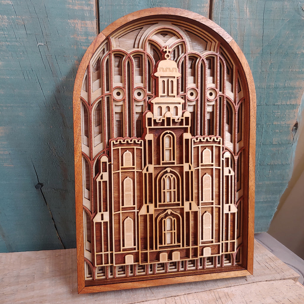 Logan Utah Temple Layered Wood Plaque