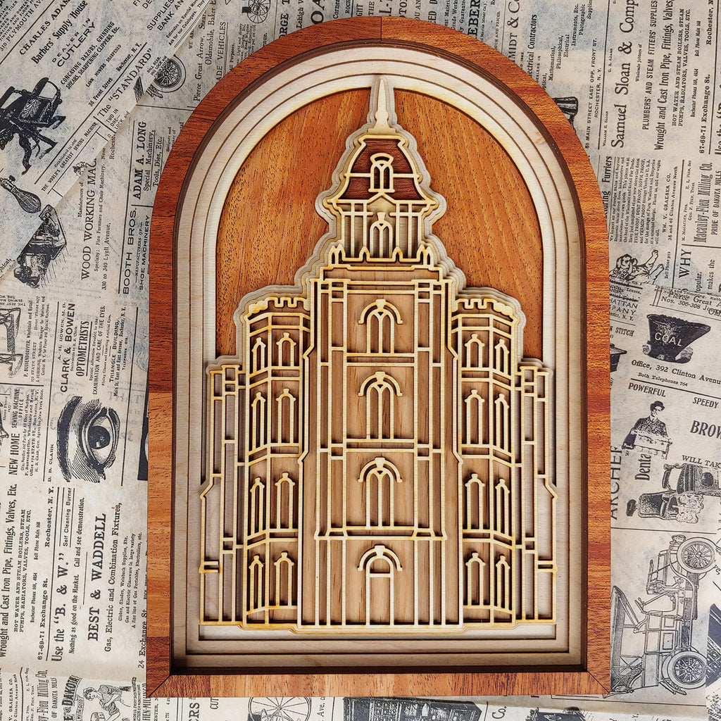 Manti Utah Temple Layered Wood Plaque