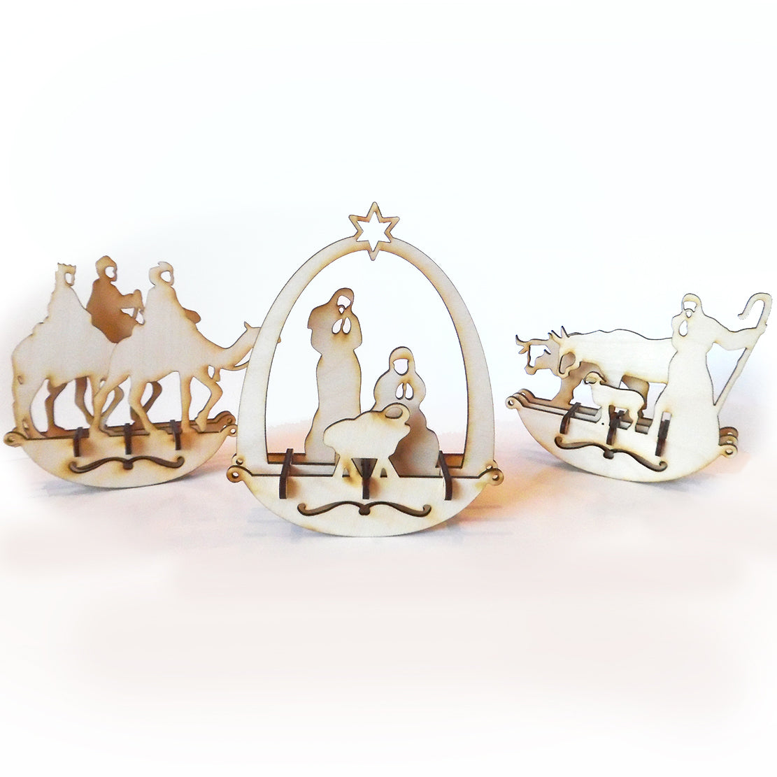 Wooden Christmas Nativity Rocker Set