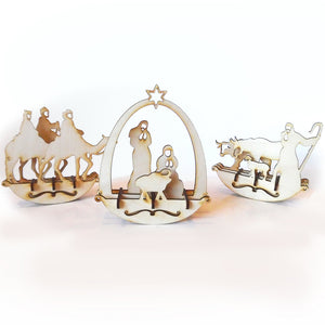 Wooden Christmas Nativity Puzzle Rocker Set