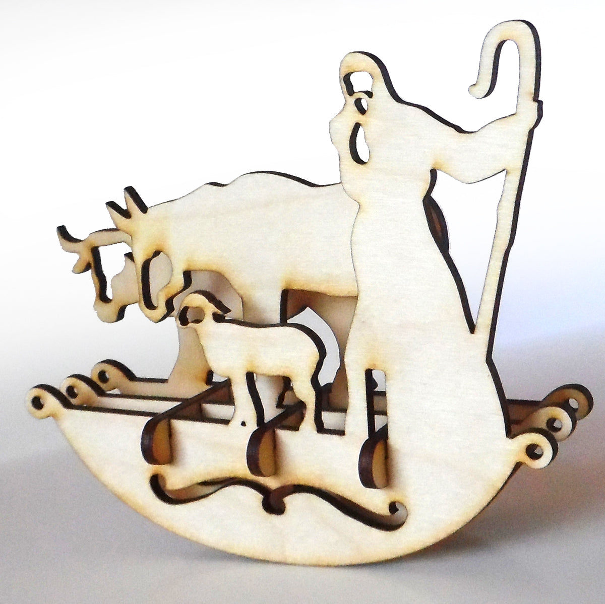 Wooden Christmas Shepherd Rocker