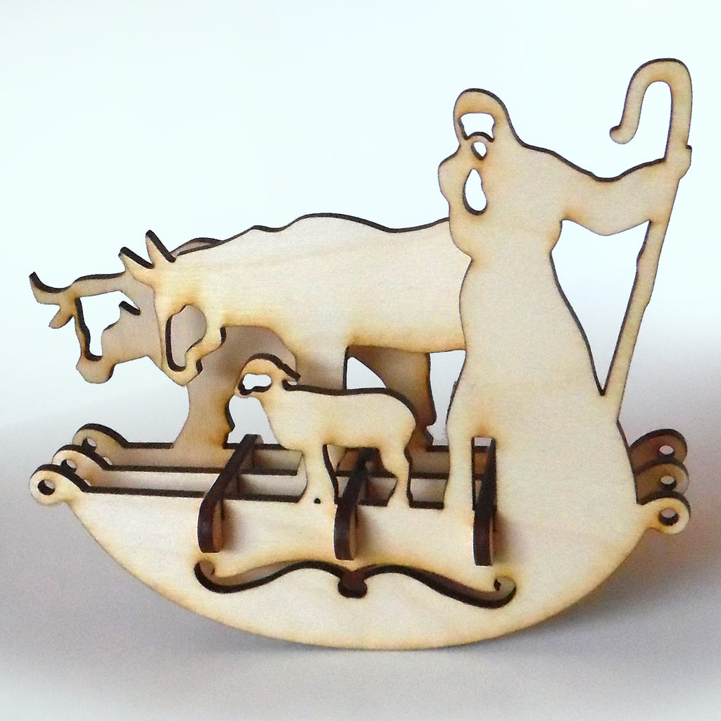 Wooden Christmas Shepherd Puzzle Rocker