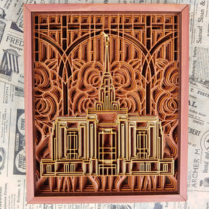 Ogden Utah Temple Layered Wood Plaque