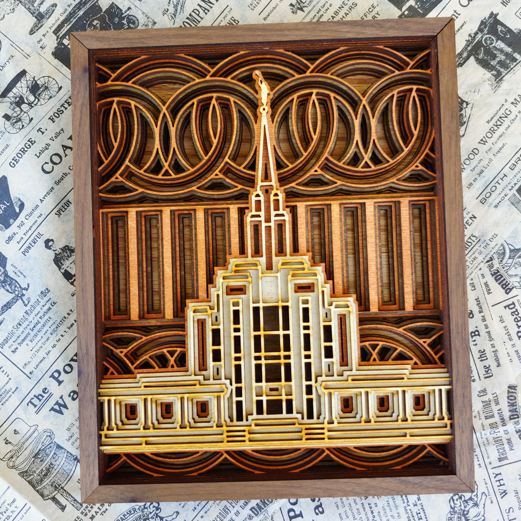 "Oquirrh Mountain Utah Temple Layered Wood Plaque 6"" x 8"""