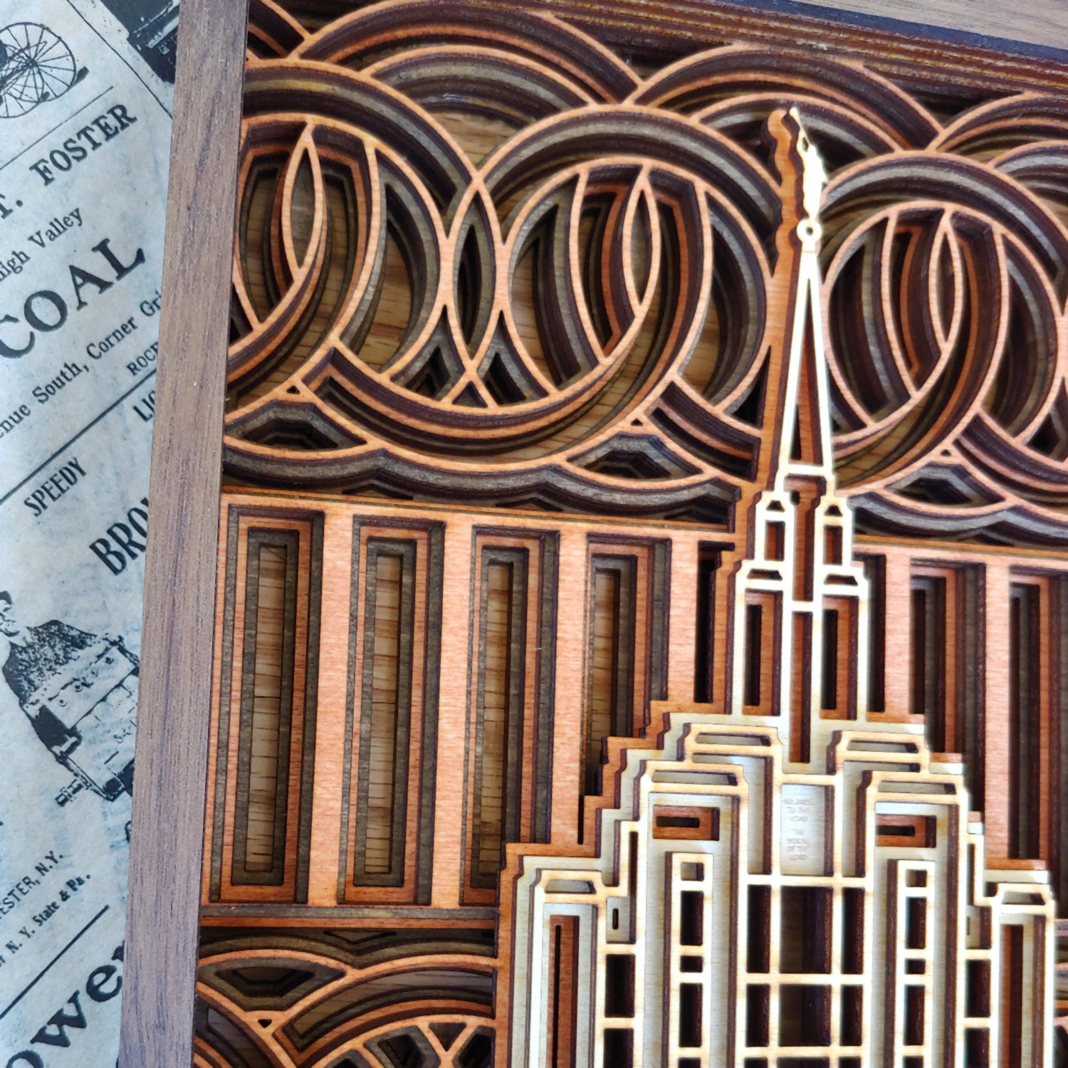Oquirrh Mountain Utah Temple Layered Wood Plaque