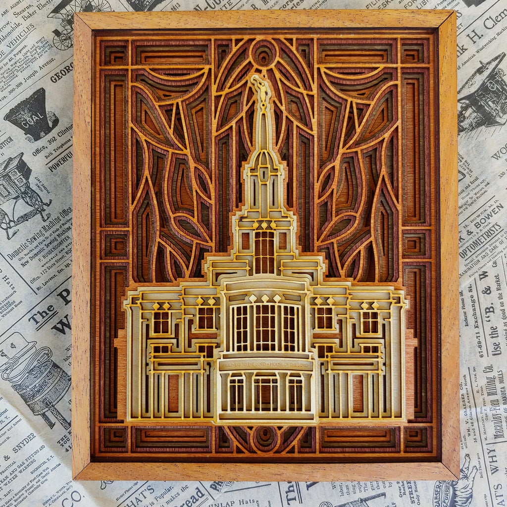 "Payson Utah Temple Layered Wood Plaque 6"" x 8"""