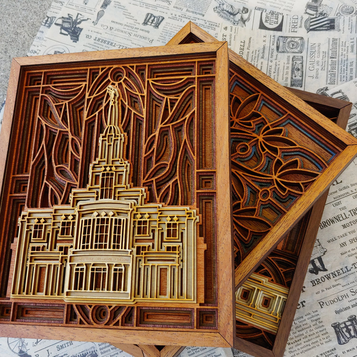 Payson Utah Temple Layered Wood Plaque