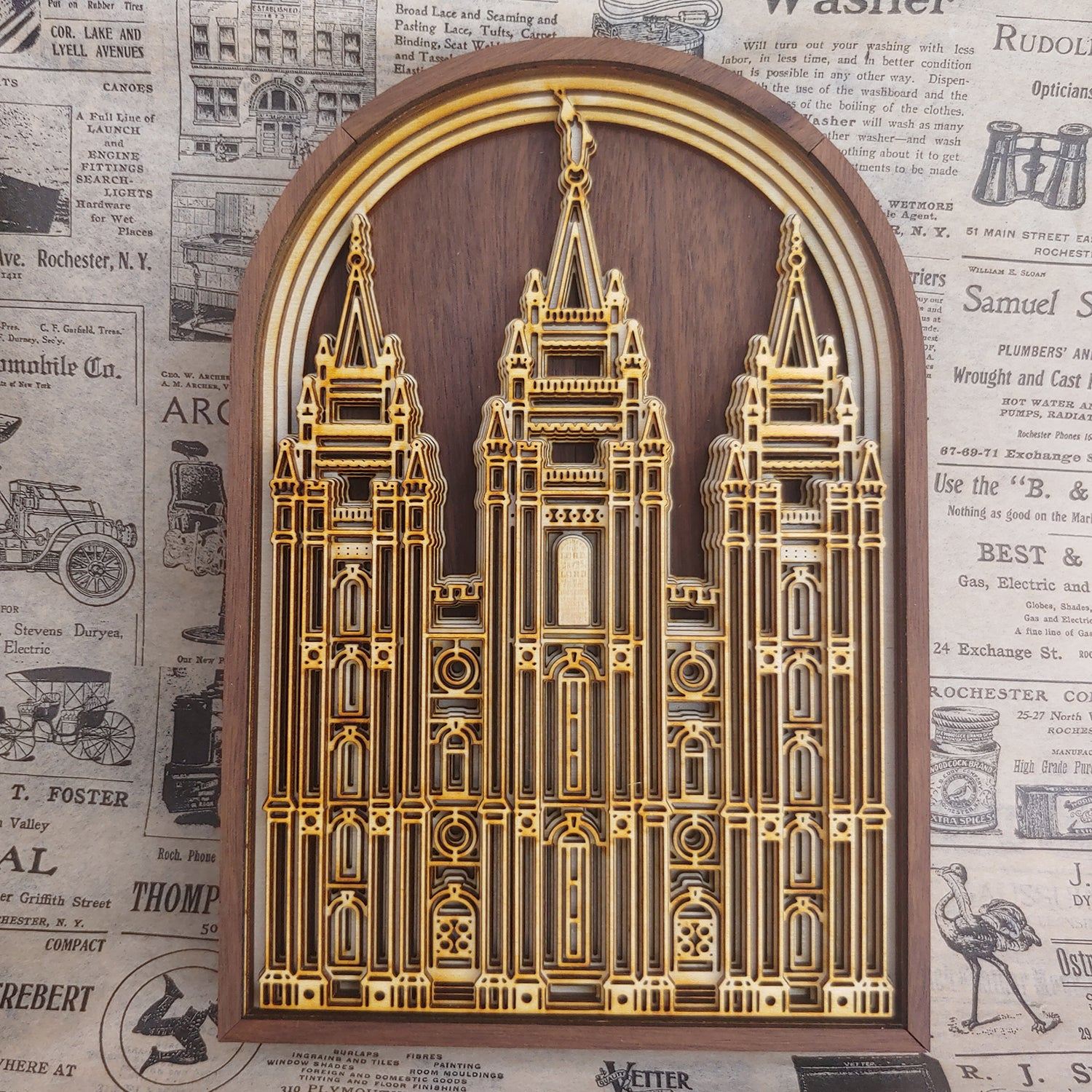 Salt Lake Temple Layered Wood Plaque