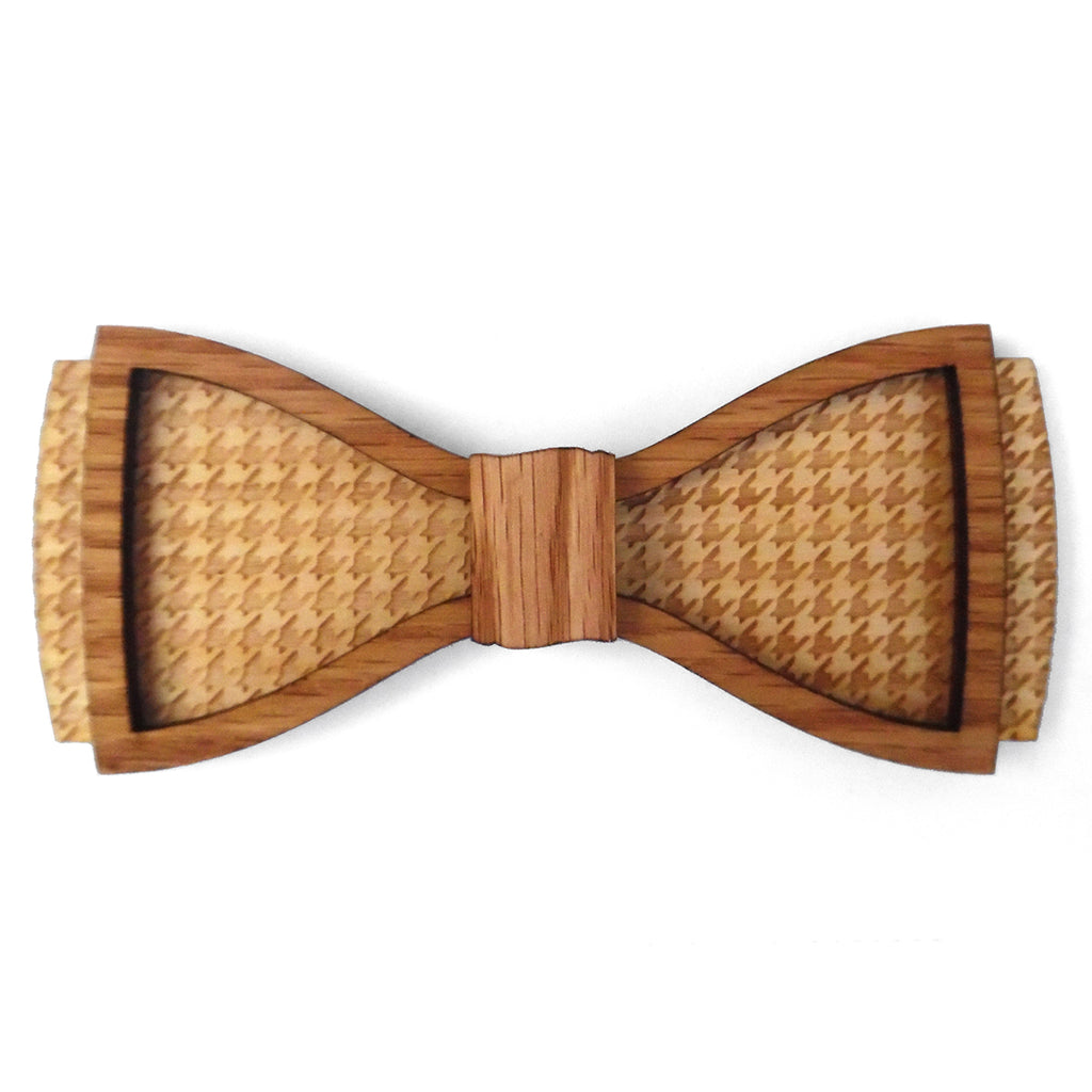 R.B. Houndstooth D.Phil., Red Oak and Birch Wood Bow Tie