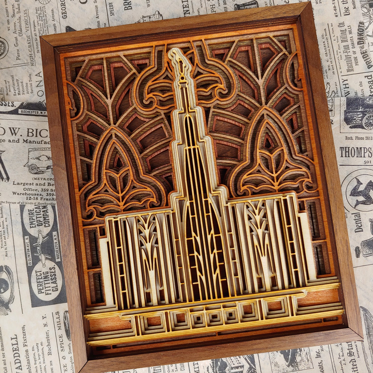 Seattle Washington Temple Layered Wood Plaque