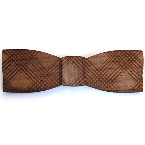 W.W. Peterson M.Sc., Plaid Design Wooden Bow Tie