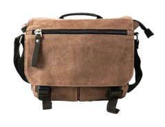 Ikon Brown canvas camera messenger bag front view with zippered pocket on flap