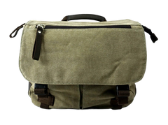 Olive green Ikon canvas camera messenger bag front flap with zippered pocket