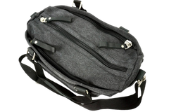 Charcoal black canvas handbag with functional compartments for easy storage access