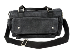 Charcoal black handbag with extra shoulder strap for cross body wear