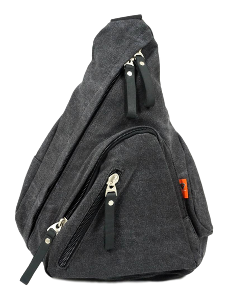 Charcoal Sling Backpack Front with Zippered Pockets