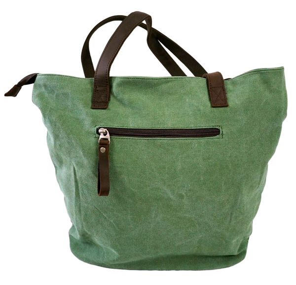 Green Beige canvas tote with leather straps back zippered pocket