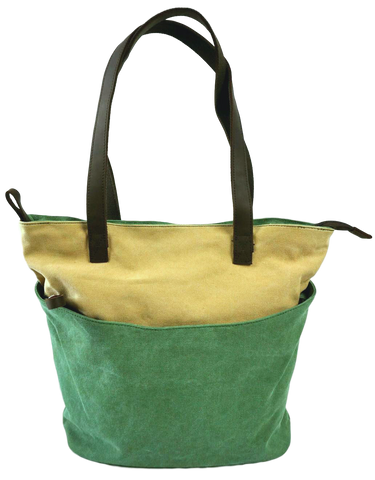 Green Beige canvas tote with leather straps and large front zippered pocket