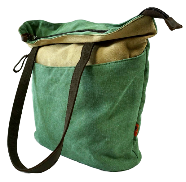Green Beige canvas tote with leather straps side view