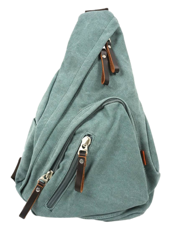 Sage Green Sling Bag front view with zip pockets