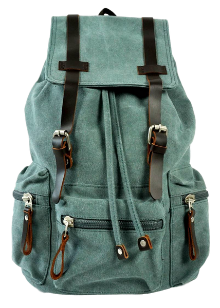 Light green 13 inch laptop backpack front zip pocket, flap with leather straps
