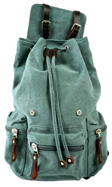 Light green 13 inch laptop backpack open flap with drawstring opening