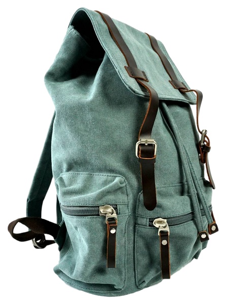 Light green 13 inch laptop backpack side zip pocket