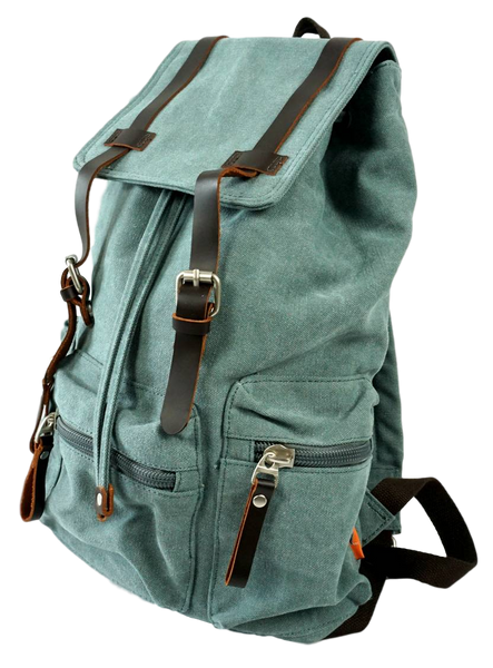 Light green 13 inch laptop backpack side zippered pocket