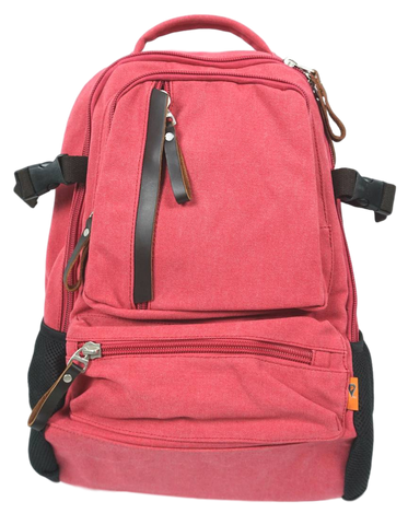 Rose Red Sporty Laptop Backpack front with 3 pockets and leather zip pulls