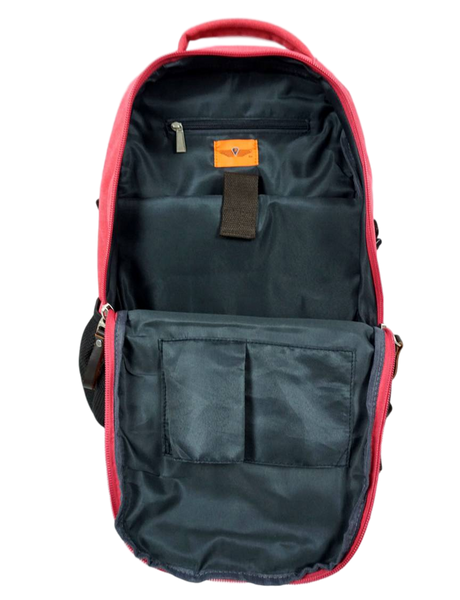 Rose Red Sporty Laptop Backpack inside 14 inch laptop padded compartment and extra pockets