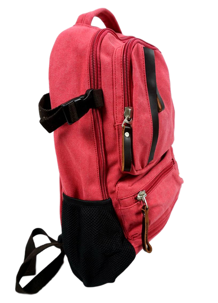 Rose Red Sporty Laptop Backpack left side with mesh drink pouch